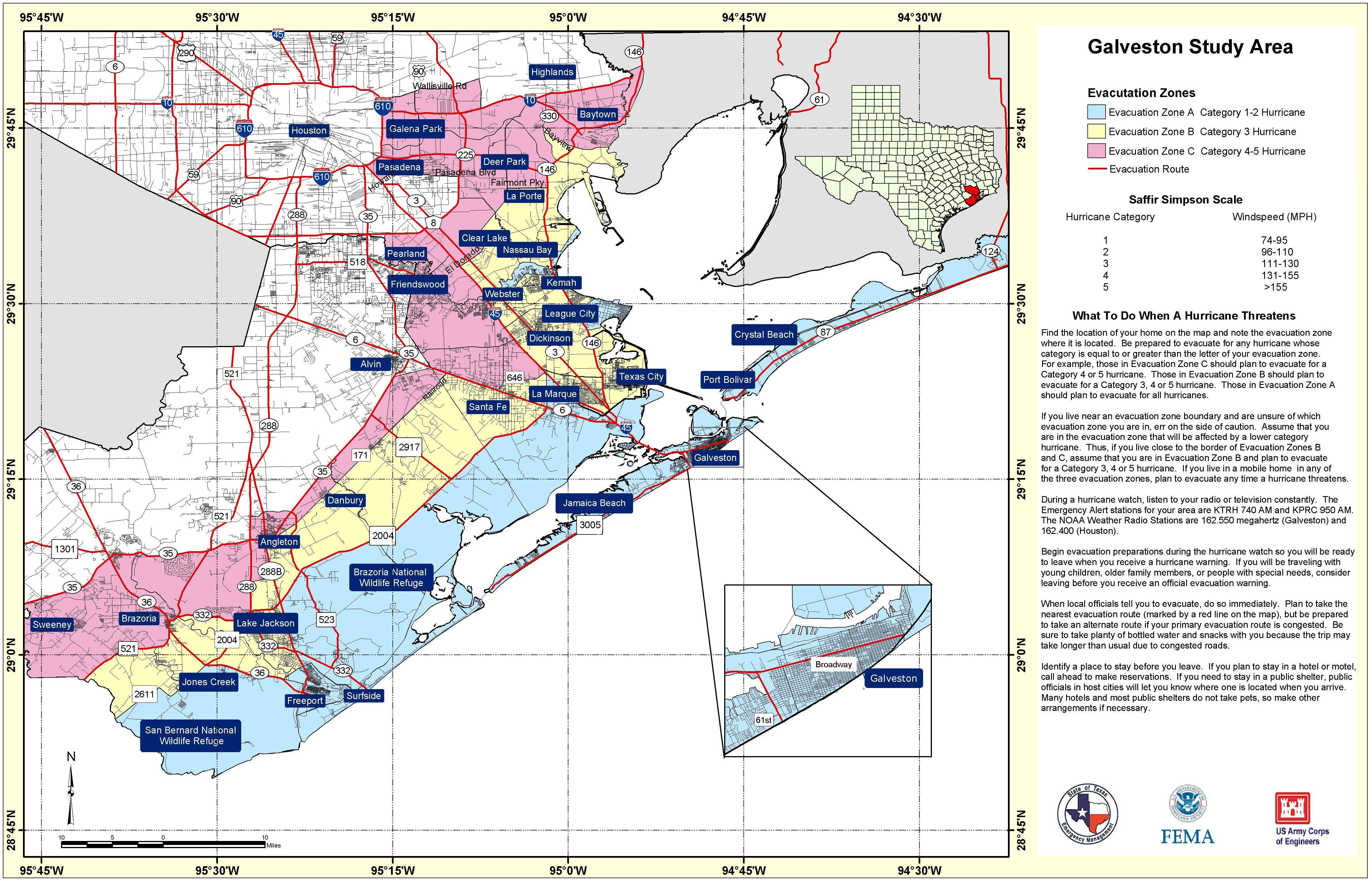 Texas hurricane zone map